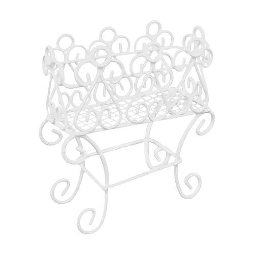 Металлическая подставка для цветов, белая 8*3,5*9см