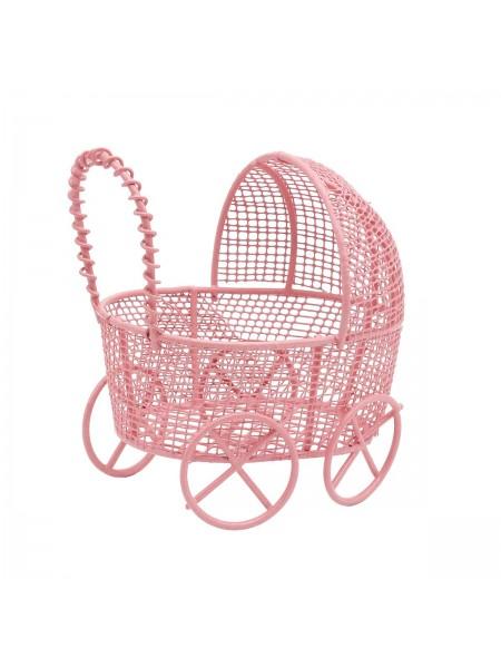 Металлическая коляска, розовая