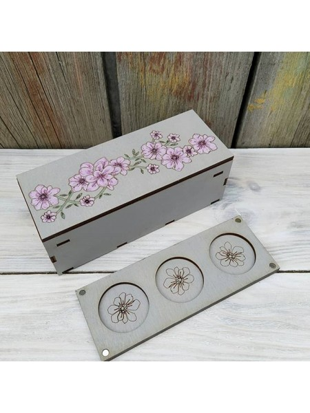 Шкатулка с органайзером  для бисера на магнитиках-Цветы.Размер  25*11,5*9,5см