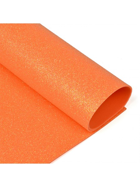 Глиттерный фоамиран, А4,цв-оранжевый