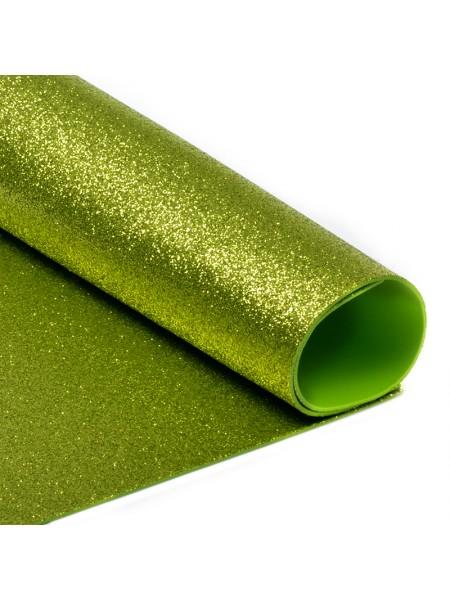 Глиттерный фоамиран, А4,цв-светло-зеленый