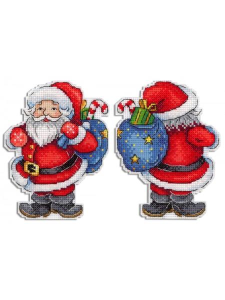 """Набор для вышивания на пластиковой канве  Р-584 """" Веселый Санта""""""""  13*10см"""
