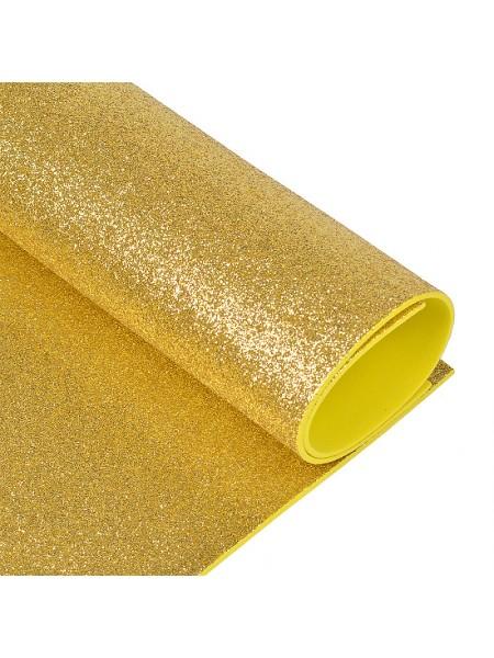 Глиттерный фоамиран, А4,цв-светло-золотой