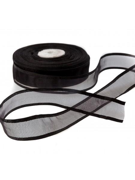Органза с атласным краем,чёрная,25мм,цена за метр