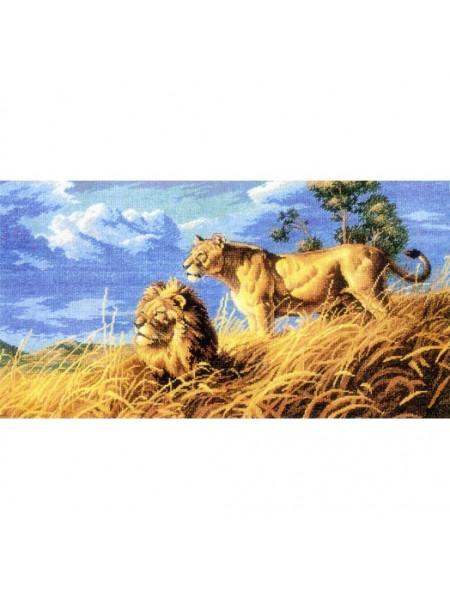 """Вышивка крестом Белоснежка- """"Цари саванны""""рисунок  33*60 см"""