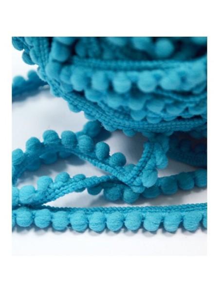 Тесьма с мини помпонами. ярко-голубая,1 метр