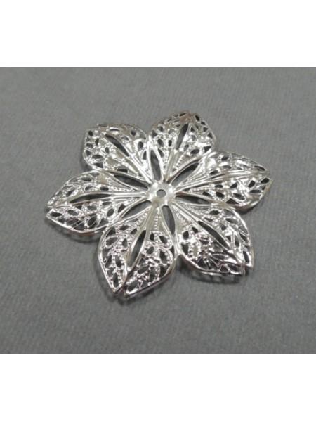 Декоративный элемент,цветок-филигрань цв-серебро.4,2см,цена за 1 шт