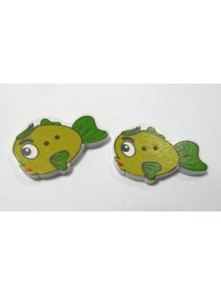"""Пуговицы""""Рыбка"""" зелёная. цена за 1 шт"""