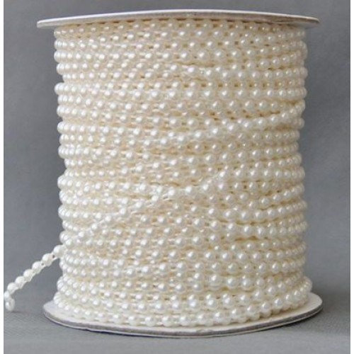 Полубусины на нитке,4мм, (лента пластиковая-цв-белый),цена 1 м