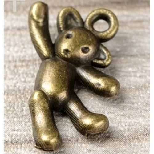 Подвеска медвежёнок на верёвочке бронза,цена за 1 шт