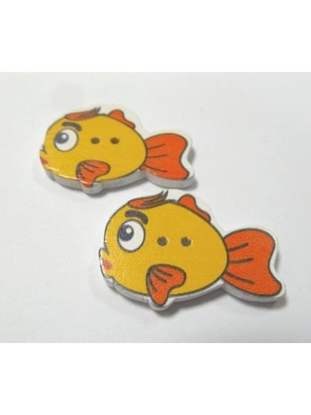 """Пуговицы""""Рыбка"""" оранжевая. цена за 1 шт"""