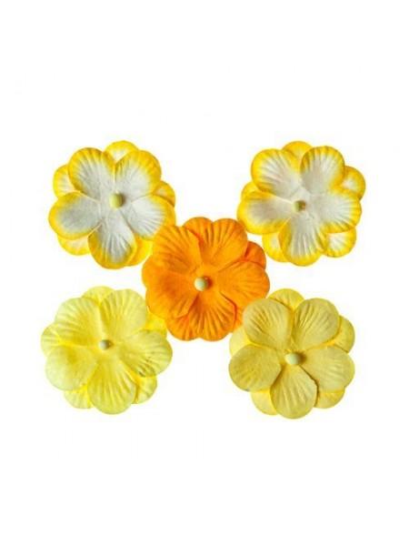 Анютины глазки, набор двойных цветочков 5 штук, желтый