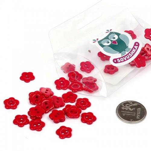 """Пуговицы """"Цветочек""""-красные,№5 ,цена за 1 шт"""