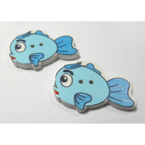 "Пуговицы""Рыбка"" голубая. цена за 1 шт"