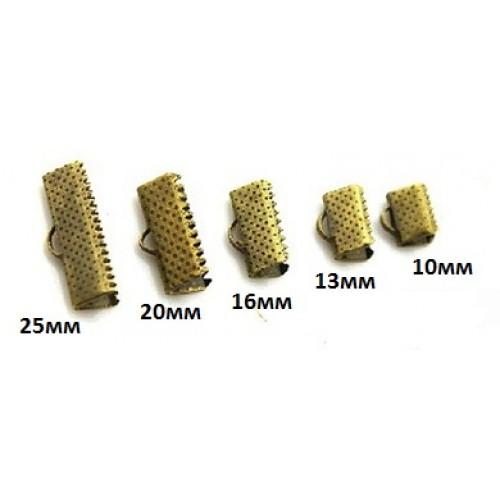 Зажим для ленты( браслета), бронза,10 мм, цена за 1 шт