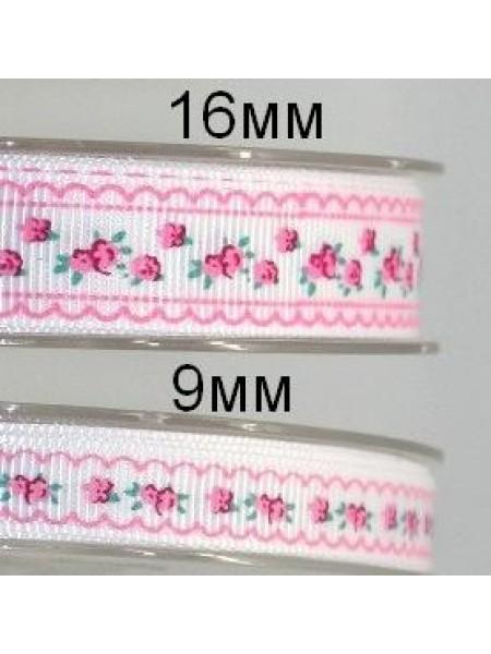 Лента репсовая-розочки на белом фоне, 16 мм,цена за 1 метр