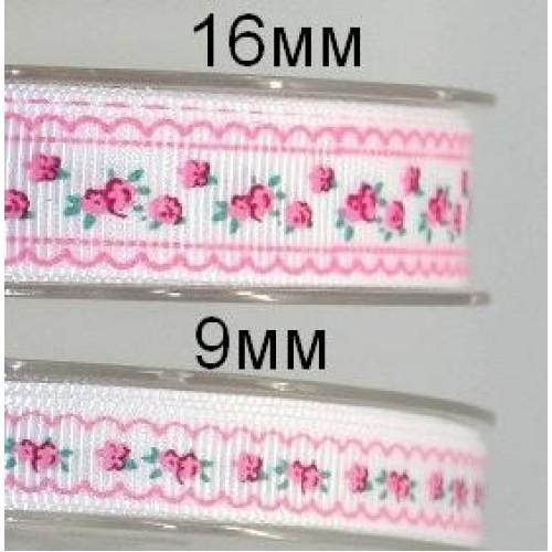 Лента репсовая-розочки на белом фоне, 9 мм,цена за 1 метр