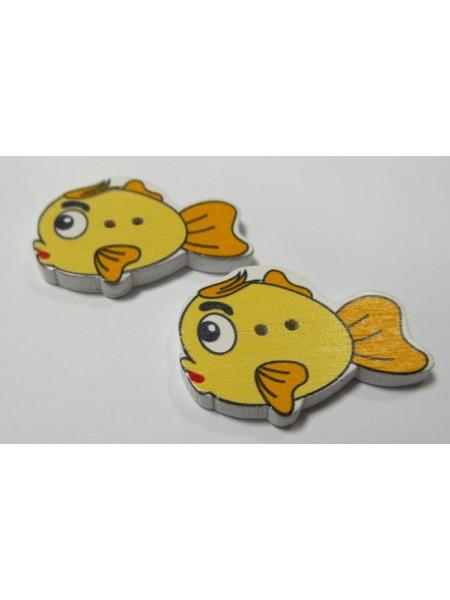 """Пуговицы""""Рыбка"""" жёлтая. цена за 1 шт"""