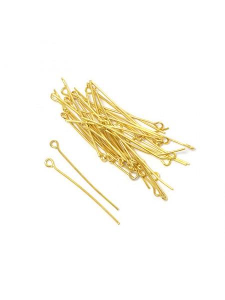 Пины(штифты) с колечком,цв-золото,30мм,цена за 10 шт