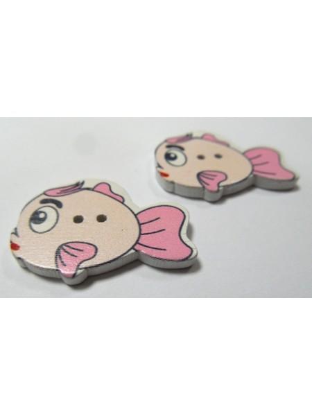 """Пуговицы""""Рыбка"""" розовая. цена за 1 шт"""
