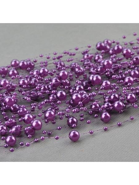 Бусины на леске,фиолетовые,1 метр