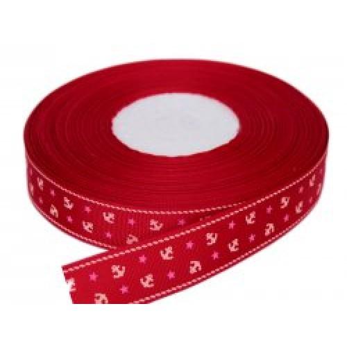Лента репсовая с якорями,красная,2,5см.цена за метр