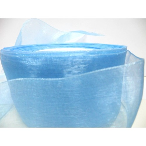 Органза,голубая,50мм,цена за метр