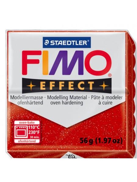 Полимерная глина FIMO effect,57гр,красный с блестками