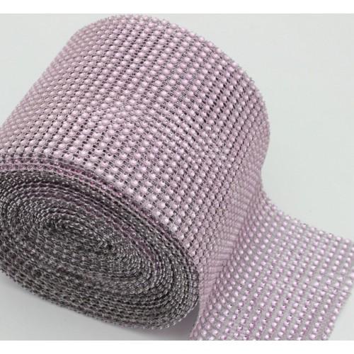 Лента стразовая, пластик цв.розовый, цена за 10 см