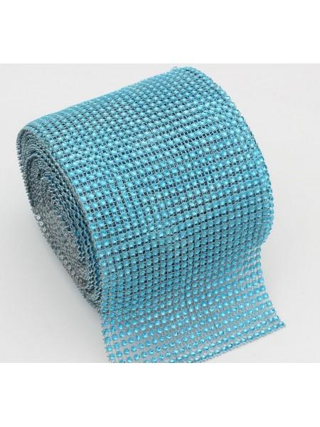 Лента стразовая, пластик цв.голубой, цена за 10 см