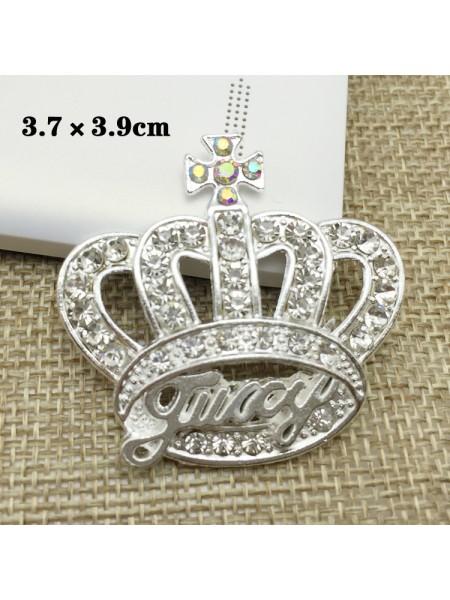Декоративный элемент корона со стразами,серебро Цена за 1шт
