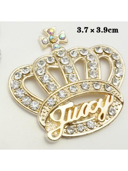 Декоративный элемент корона со стразами, золото Цена за 1шт