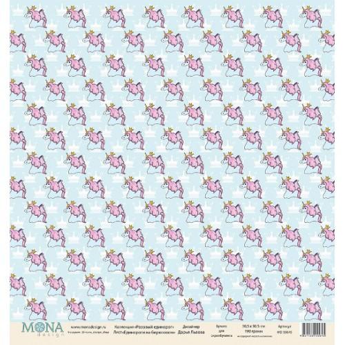 "Бумага ""Розовый Единорог-Единороги на бирюзовом"",односторонняя,цена за 1 лист"