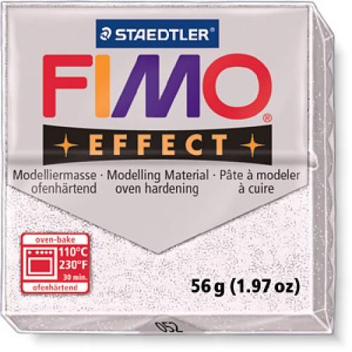 Полимерная глина FIMO effect,57гр,белый с блестками