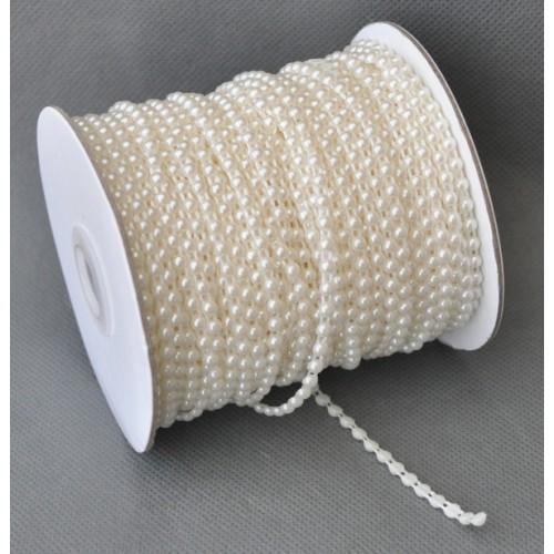 Полубусины на нитке,6мм, (лента пластиковая-цв-кремовый),цена за 1 мсм