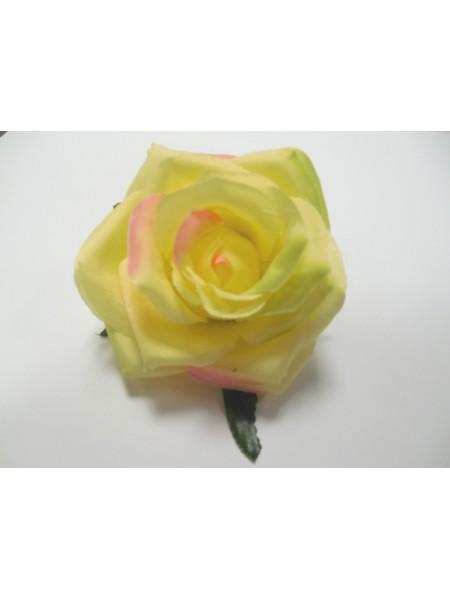 Головка розы из ткани, 9см,жёлтая