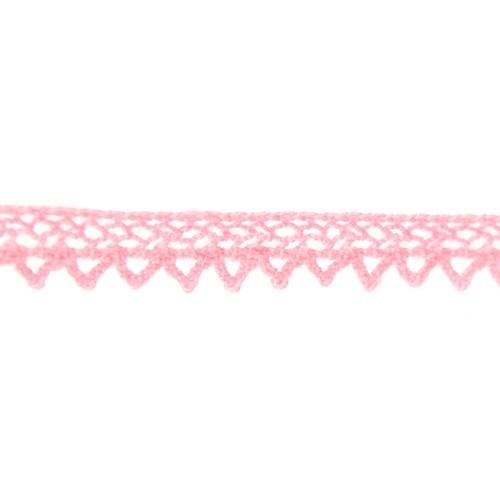 Кружево вязанное, хлопок,0,8см.цв сетло-розовый,002-20.цена за 1 м