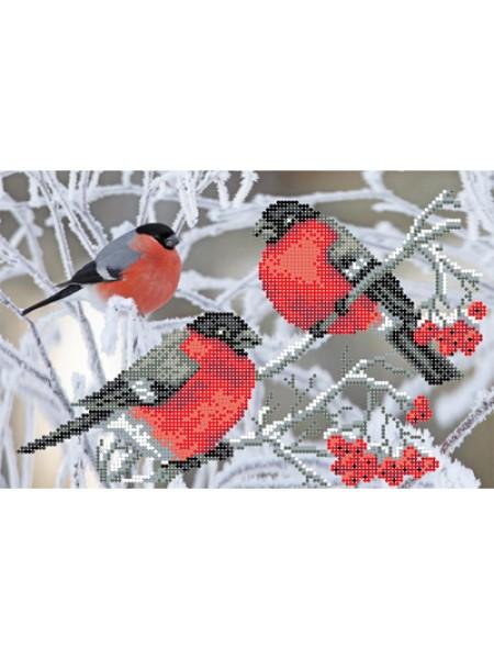 """Набор для вышивки бисером """"Рябина и снегири"""" МП-002"""