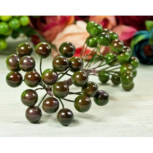 Ягодки глянцевые, оливковые, цена за 20шт