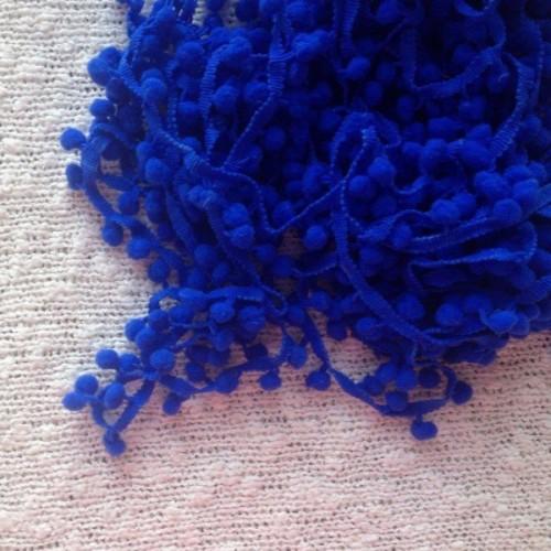 Тесьма с помпончиками синяя,1м