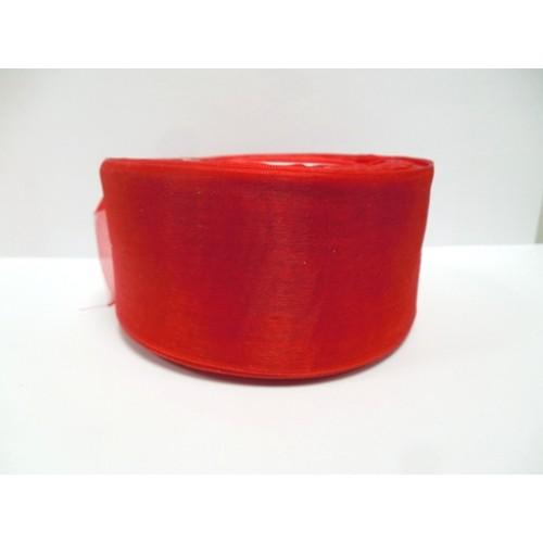 Органза,цв-красный,50мм,цена за метр