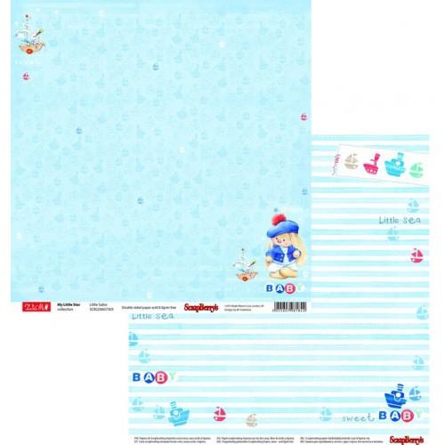 Бумага  двусторонняя ЗайкаМи Малыши По морям, по волнам, цена за 1 лист