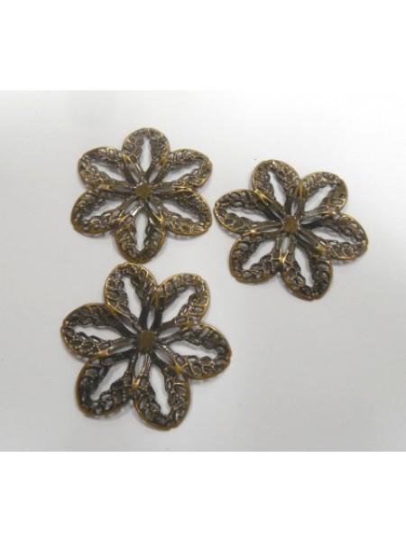 Декоративный элемент,цветок-филигрань,цв-бронза.4,2 см,цена за 1 шт