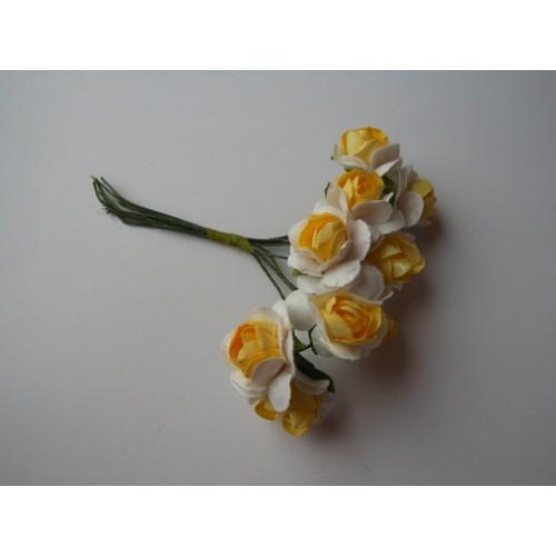 Розочки бело-жёлтые 12мм -10шт