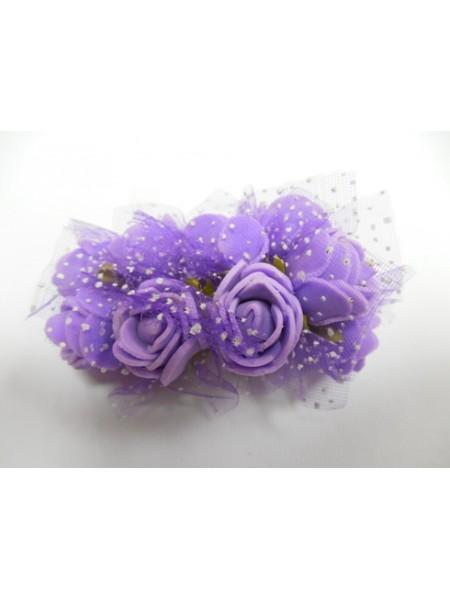 Букетик роз  с фатином,цв-фиолетовый