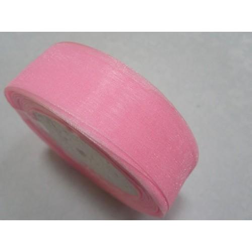Лента органза однотонная.розовая.25мм, цена за 1 метр