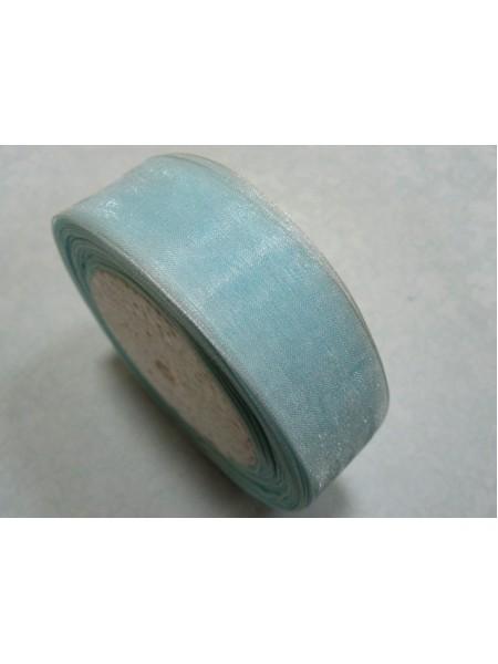 Лента органза однотонная.голубая.25мм, цена за 1 метр