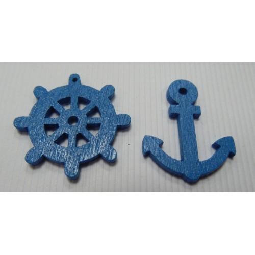 """Деревянное украшение-""""Море""""цв-синий"""