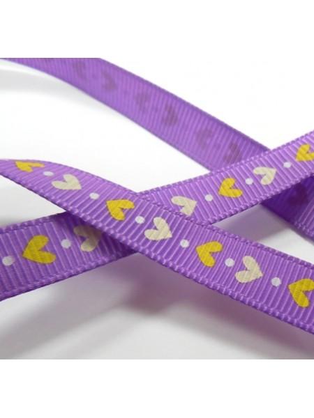 Лента репсовая,сердечки на фиолетовом, 9мм,цена за 1 м
