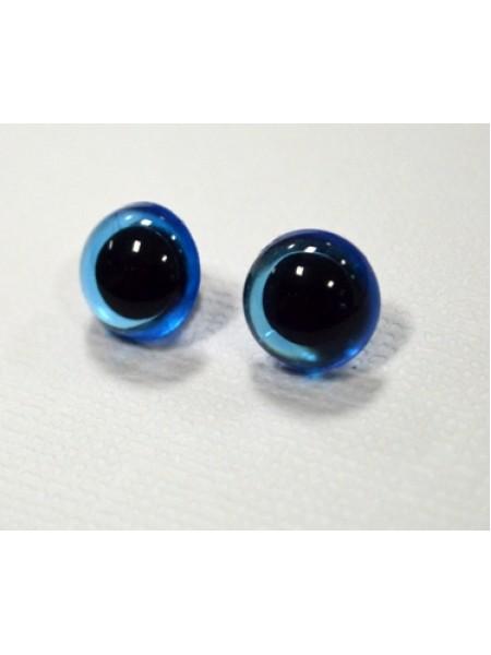 Глаза пришивные (на петле) 9 мм ,голубые,цена за пару